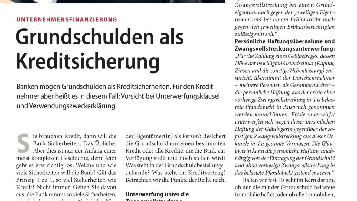 Grundschulden als Kreditsicherung  autohaus.de