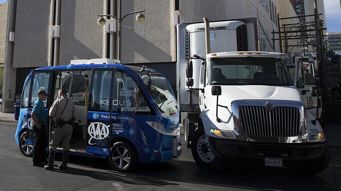 Unfall Roboter-Bus Lkw Las Vegas