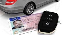 Führerschein, Autoschlüssel, Auto