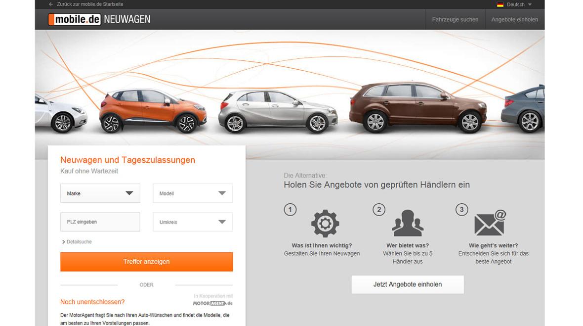 Mobile.de Neuwagen mit neuer Funktion - autohaus.de